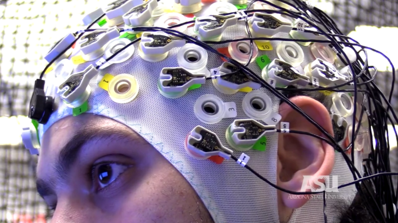 EEG headset detects electrical signals in the brain to control drones