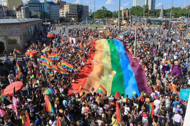 Gay pride parade in 2011 at Taksim Square, Istanbul, Turkey.