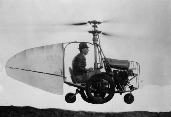 Jess Dixon in his flying automobile c. 1940