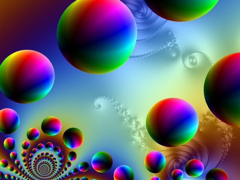 Fractal artwork of rainbow colored spheres