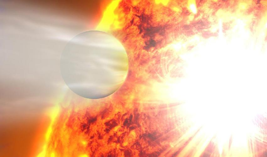 Artist's rendering of planet HD 20782 passing close to its star