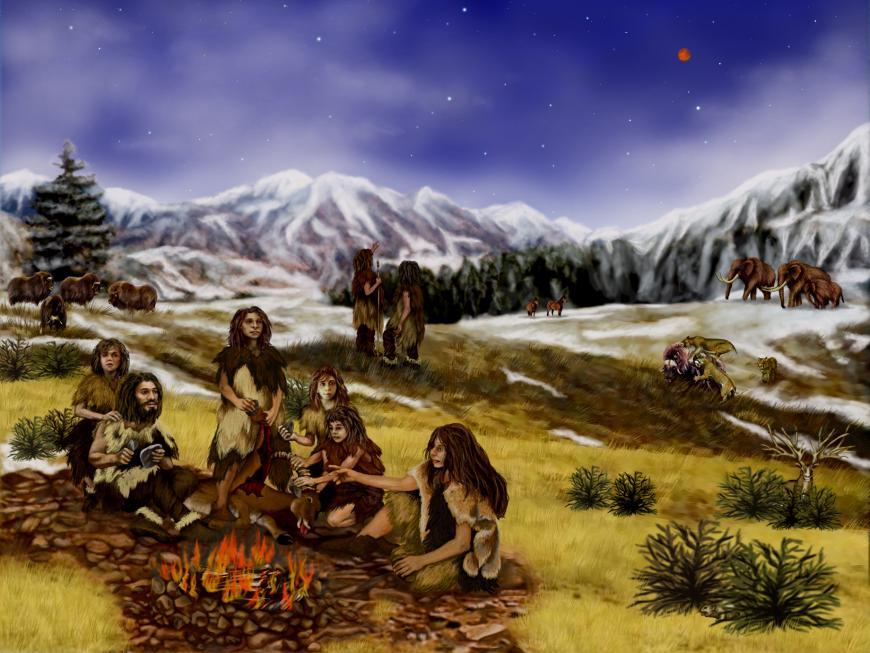 Artist's impression of Neanderthals.