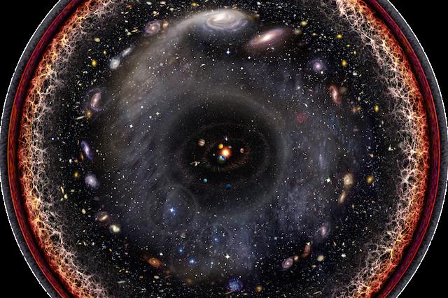 Circular image of galaxies and stars