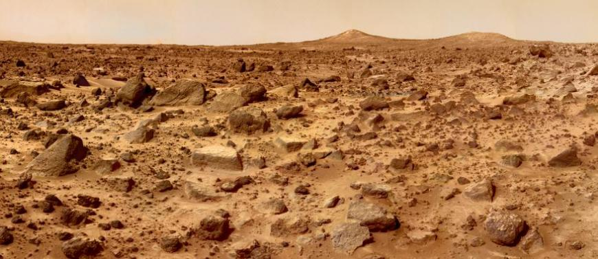 The planet Mars, as photographed from its surface