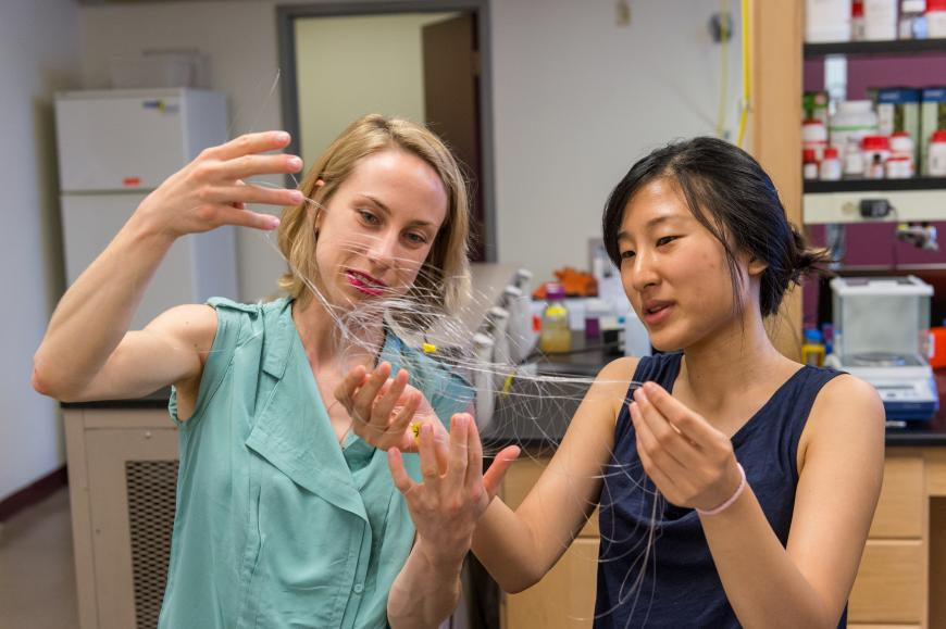 Two researchers hold up a fine mesh