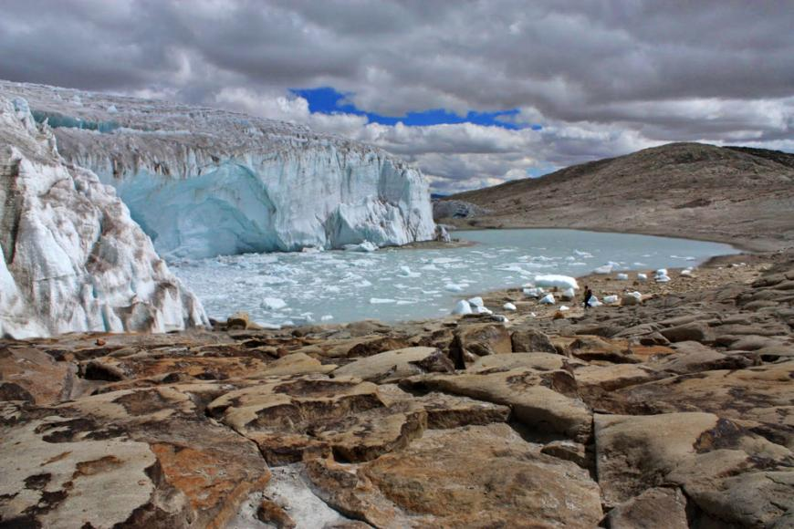 The Quelccaya ice cap is the largest glaciated area in the tropics, in Peru