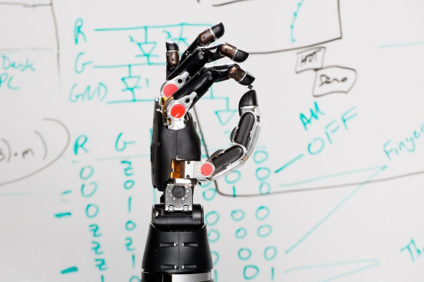 A prosthetic limb engineered by DARPA to convey the sense of touch