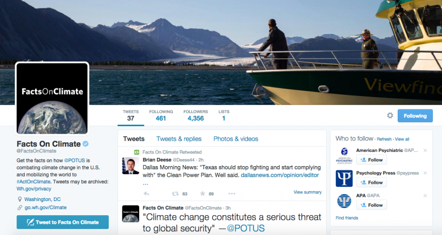 White House Creates Climate Change Twitter Account to Push