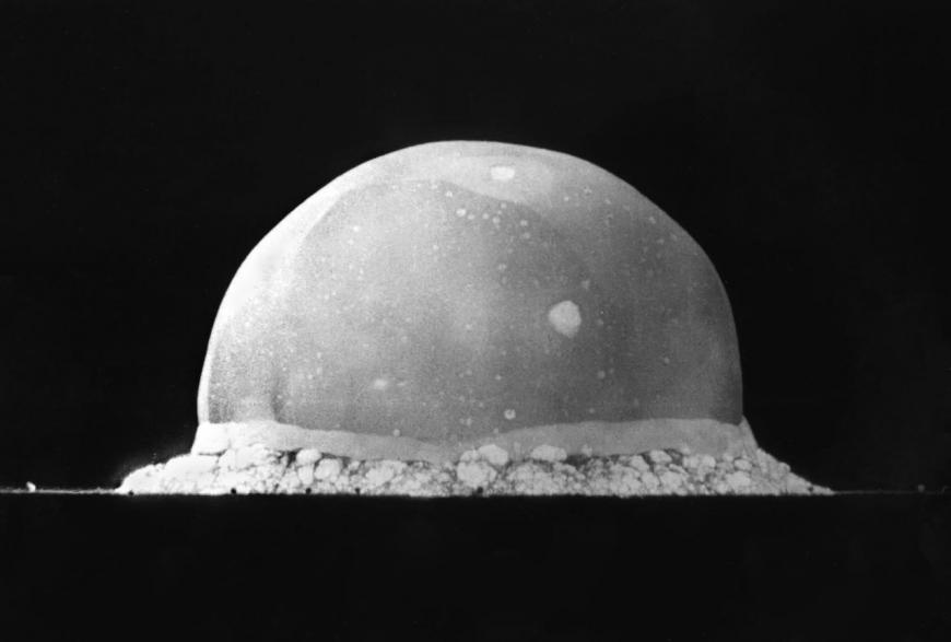 Trinity Site explosion, 0.016 second after explosion, July 16, 1945. The viewed hemisphere's highest point in this image is about 200 meters high.