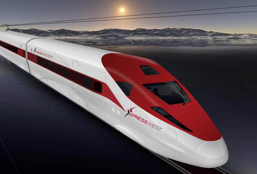Artist's impression of the proposed XpressWest bullet train