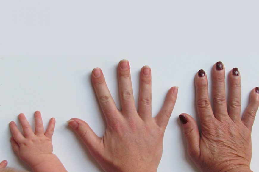 An infant hand, an adult hand, an elderly hand