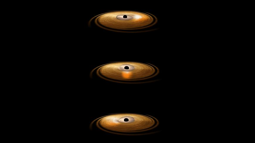 This artist's impression depicts the accretion disc surrounding a black hole, in which the inner region of the disc precesses.
