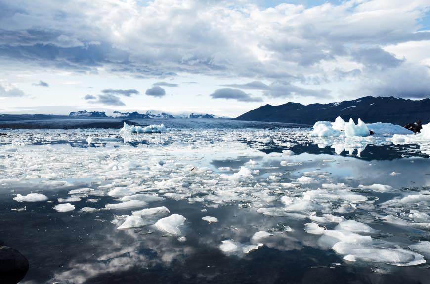 Chunks of melting ice in the ocean