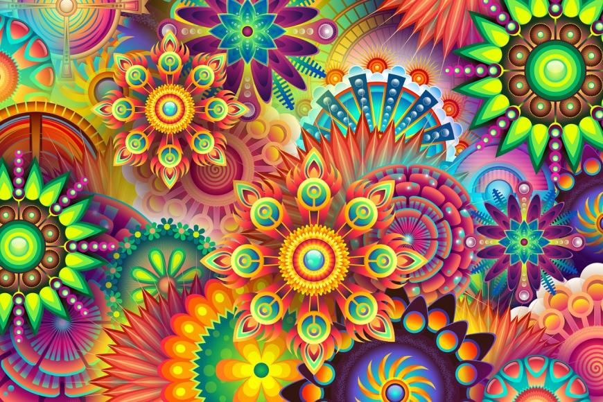 Bright colors, abstract pattern, psychedelic image