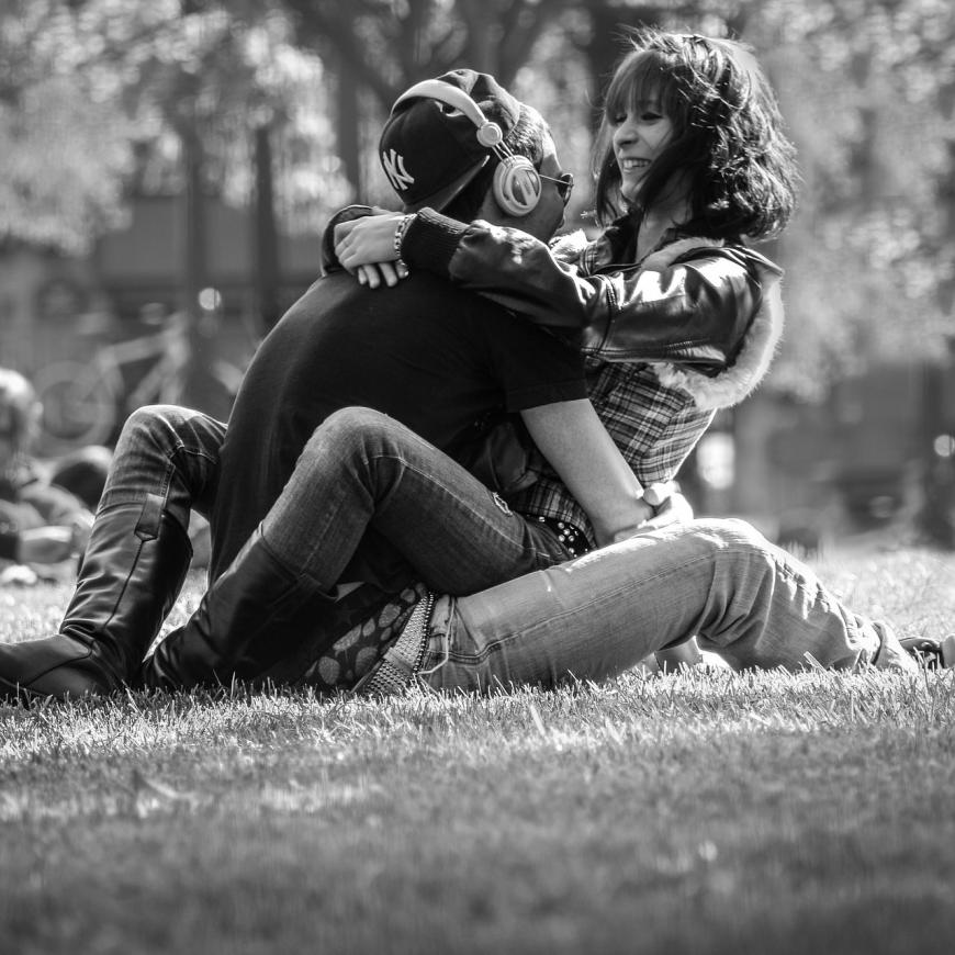 Black and white photo of a couple embracing