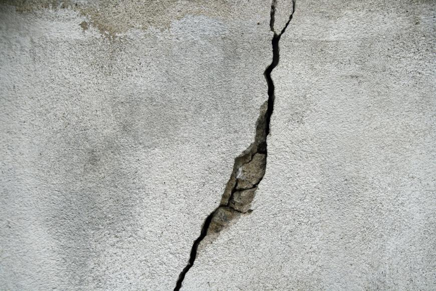 A crack in a concrete wall