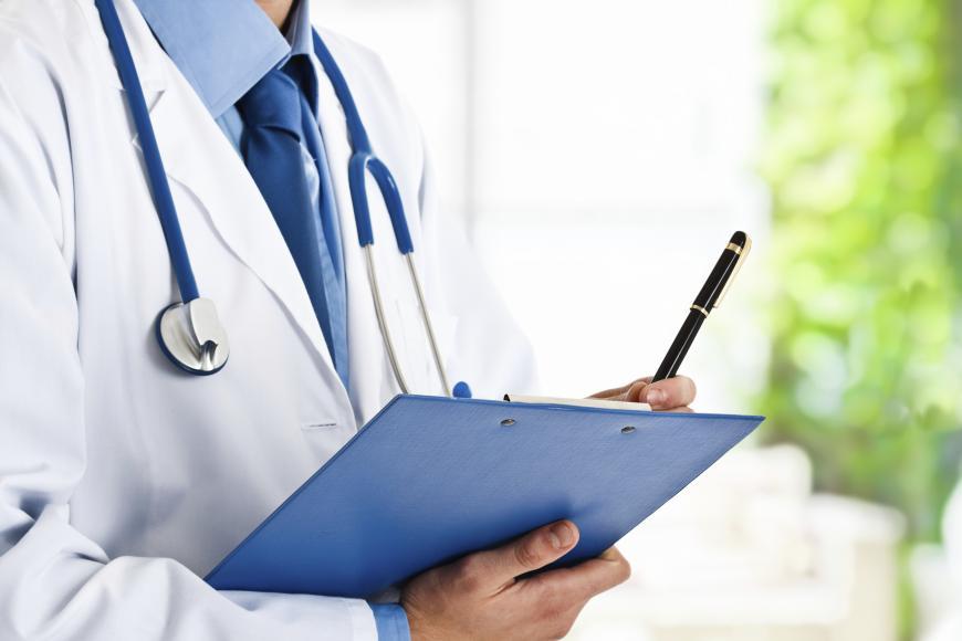 Doctor, stethoscope, clipboard