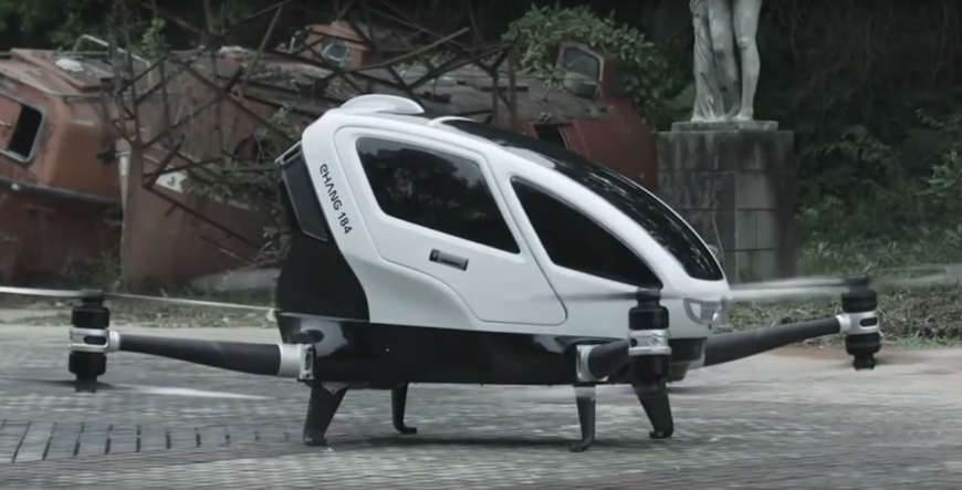 The Ehang 184, a large white drone, large enough to hold one person