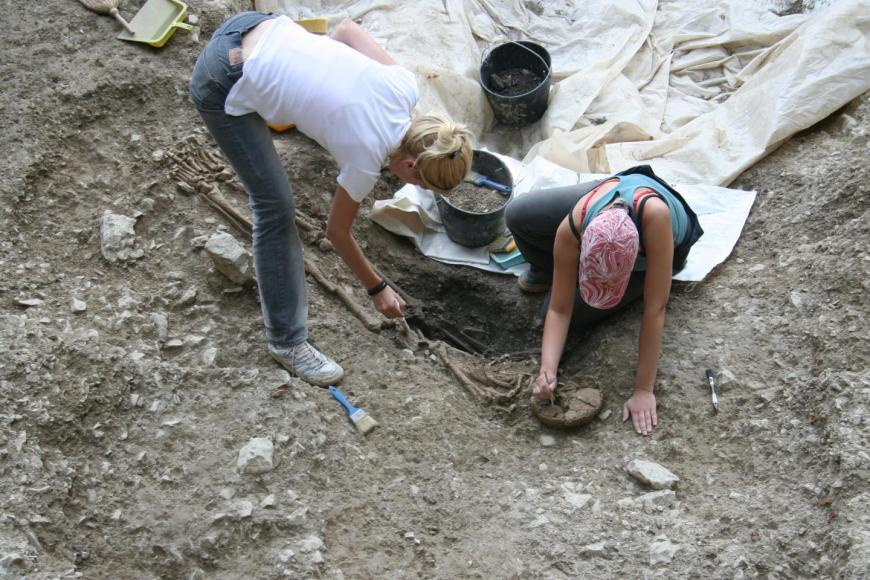 Excavations of human remains at Vlasac, Serbia.