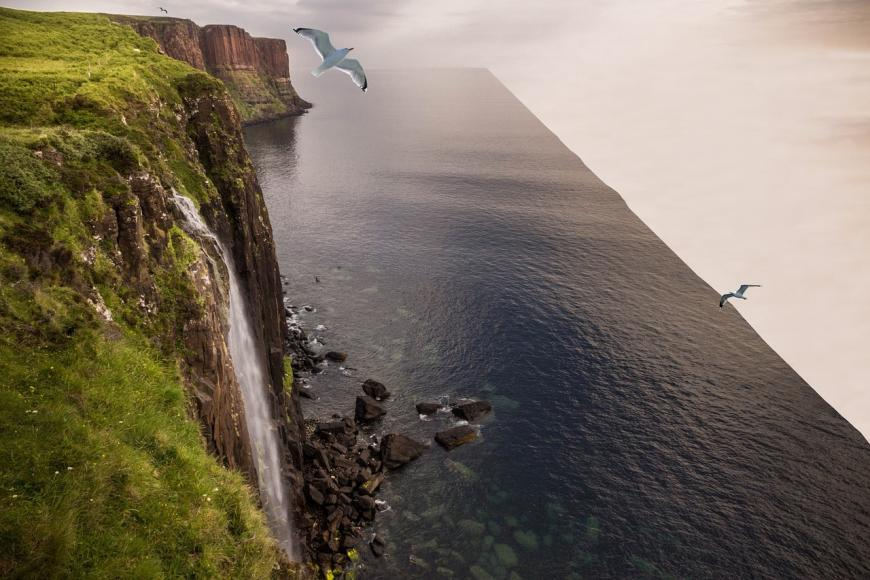 Artist's depiction of the edge of the world. The ocean simply falls off a flat edge.