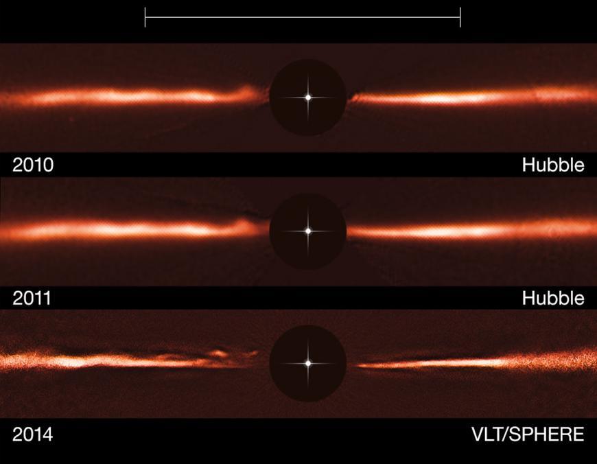 Mysterious ripples around new star, AU Mciroscopii