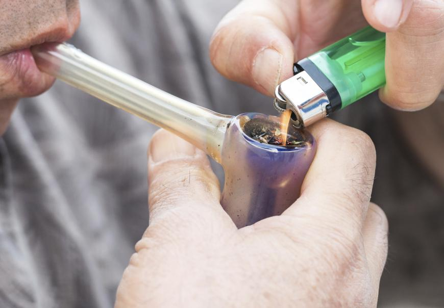 Marijuana in a glass pipe