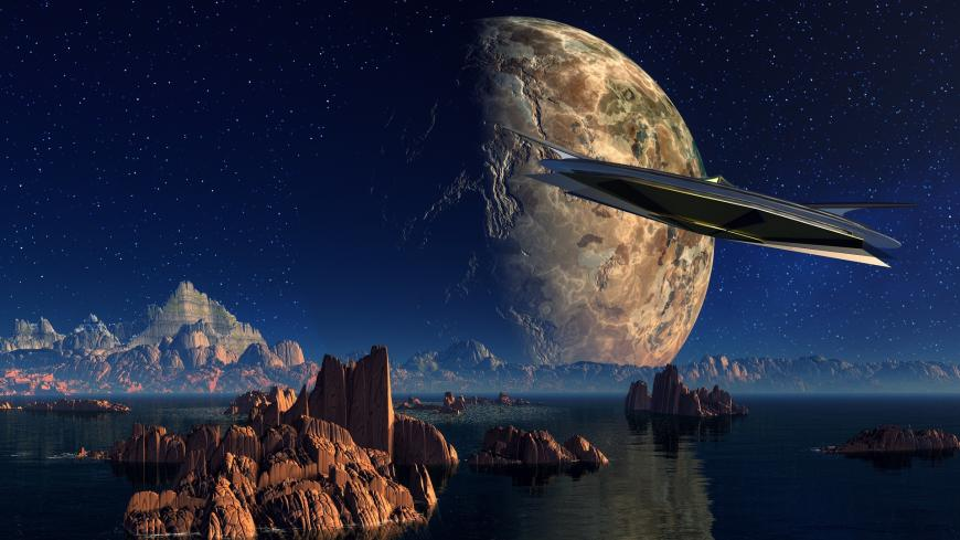 Extraterrestrial spaceship flying over an alien planet