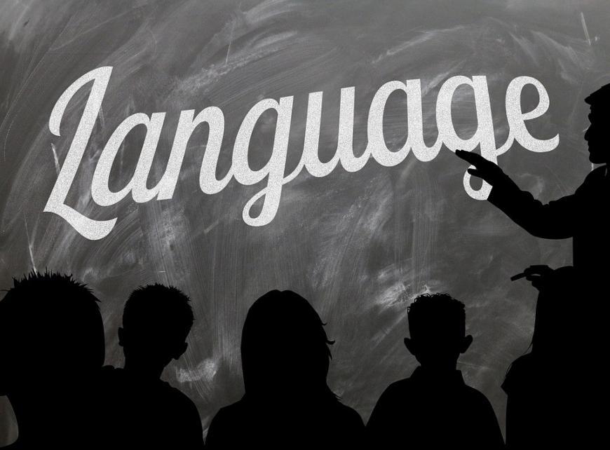 the word language written on a blackboard
