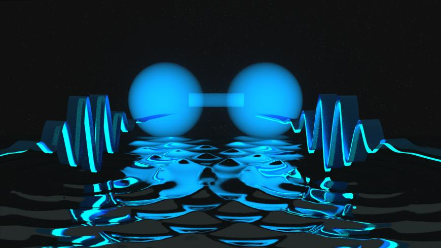 Artist's impression of two photons locked together at a short distance