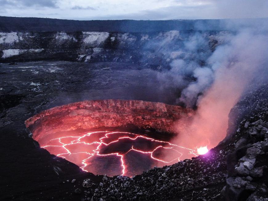 Magma in an active volcano