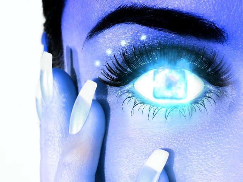 Blue cyborg eye