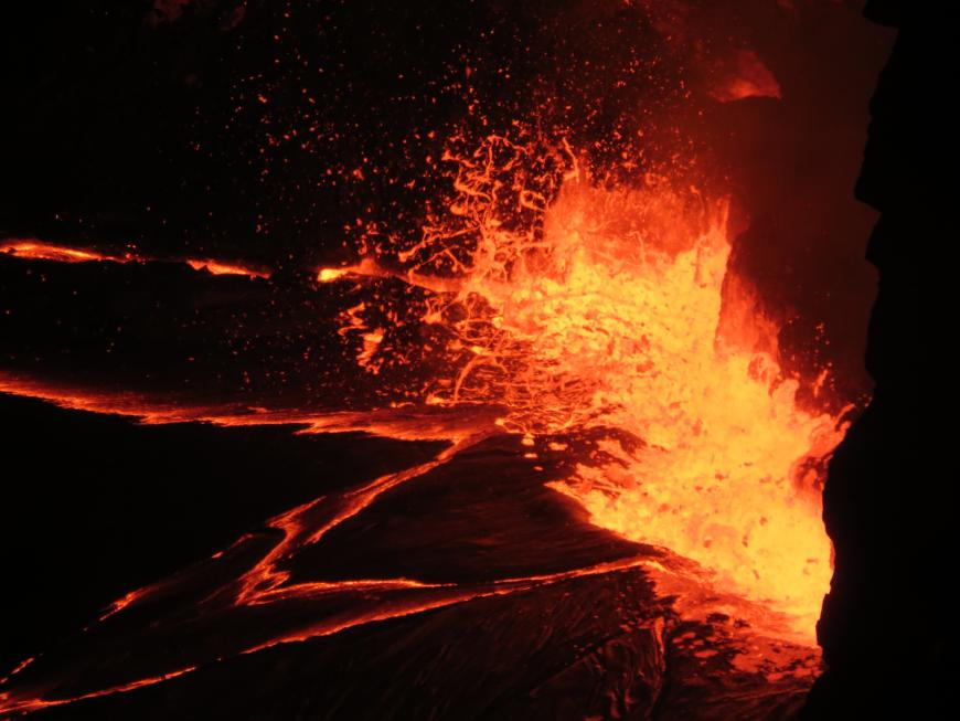 Typical lava lake activity at Kīlauea's summit, slowly rising lake level