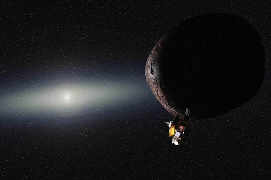 Artist's impression of New Horizons spacecraft passing Pluto