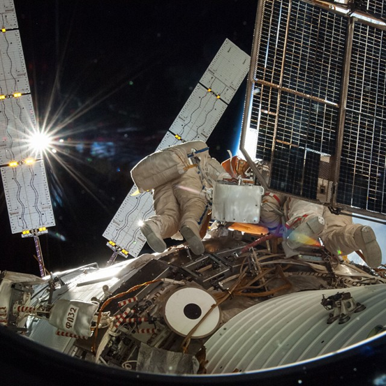 Astronauts working outside the ISS