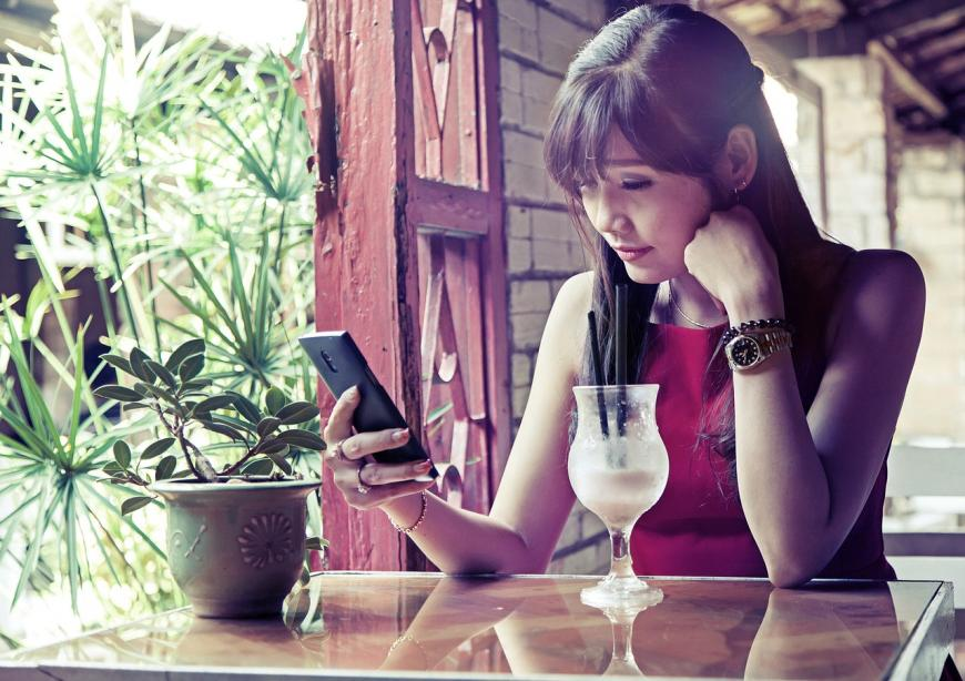 Drinking, with cell phone