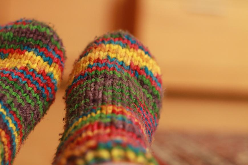 Colourful knitted wool socks