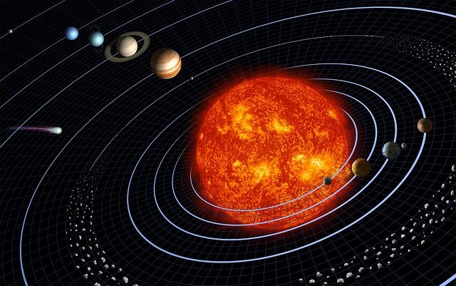Artist's impression of the planets orbiting the sun