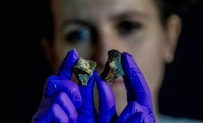 Two meteorites held in gloved hands