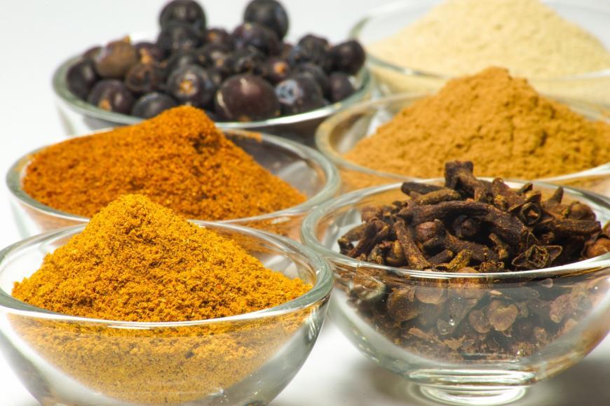bowls of spices. Taste
