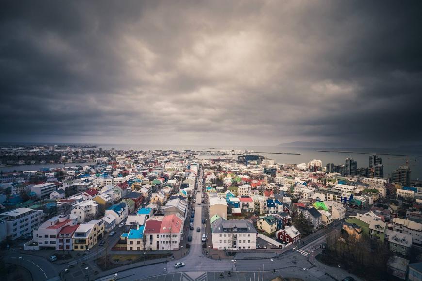 A stormy sky above a city