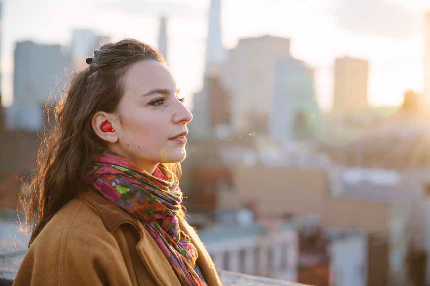 Girl with earbuds in
