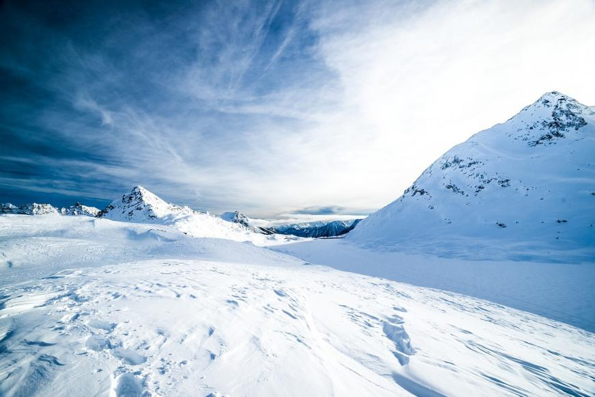 Icy, snow-covered mountain side