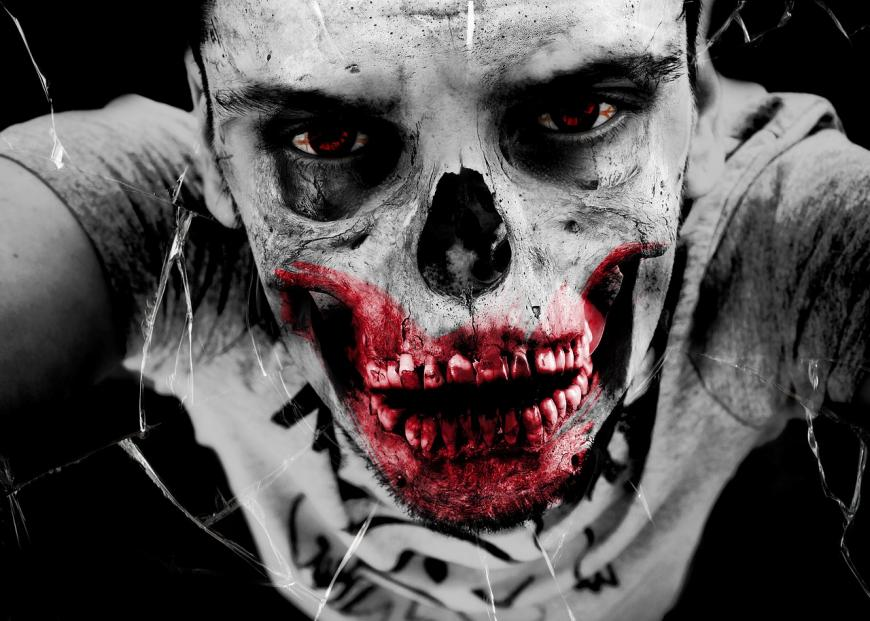 Zombie, blood and gore, black and white photo