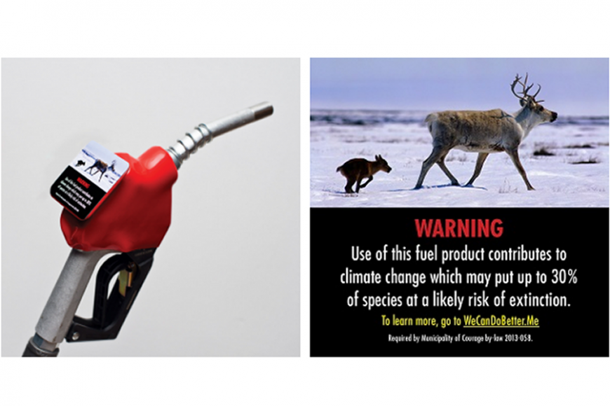 Climate change warning labels for gas pumps in North Vancouver