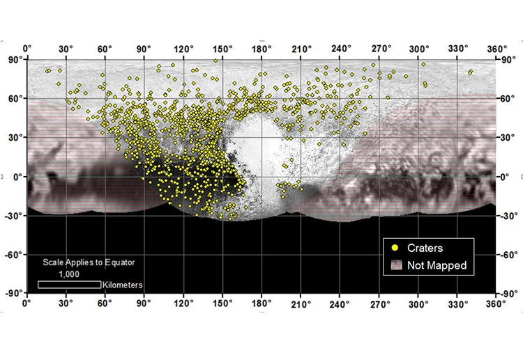 Map of craters on the surface of Pluto