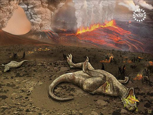 Artist's depiction of an asteroid hitting Earth, causing mass extinction.