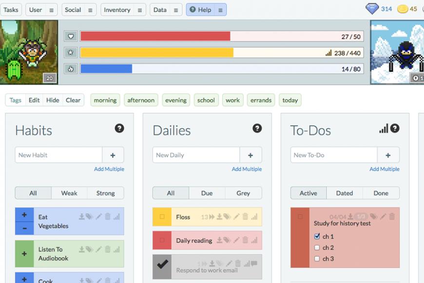 Habitica: screenshot of tasks menu