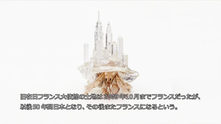 Hermit crab wearing a translucent shell shaped like the NYC sky line.