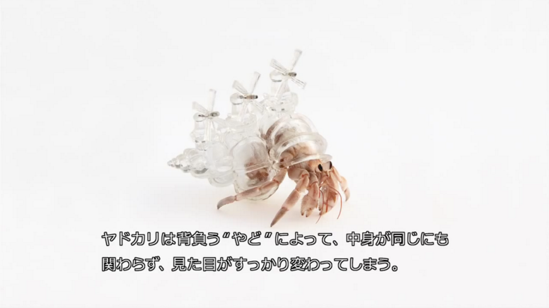 Hermit crab wearing a translucent shell shaped like the Zaanse Schans skyline.