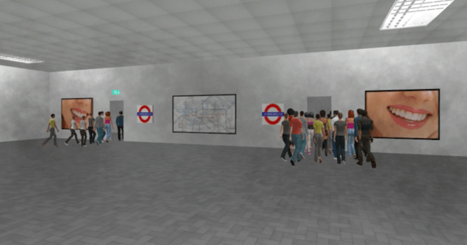 Simulation of people using a fire exit